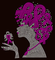 (Fuchsia ribbon on hair) Afro Lady Breast Cancer Awareness Rhinestone Transfer