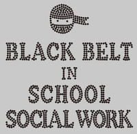 Ninja Black Belt School Social Worker Rhinestone Transfer