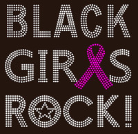 (Fuchsia) Black Girls Rock Ribbon Breast Cancer Awareness Rhinestone Transfer