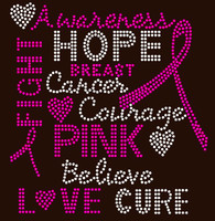 (Fuchsia)  Breast Cancer Awareness Words Ribbon Rhinestone Transfer
