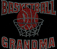 BasketBall Grandma net (ORANGE) Rhinestone Transfer