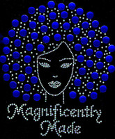 Magnificently Made Afro Girl (Cobalt Blue) Rhinestone Transfer