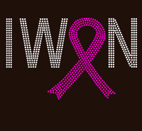 (Fuchsia) I Won Ribbon Cancer Awareness Rhinestone Transfer