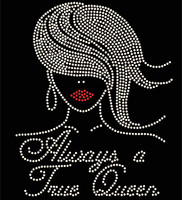 Always a True Queen Afro Girl Straight hair Rhinestone Transfer