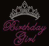 Birthday Girl (Text) with Tiara Crown Rhinestone Transfer