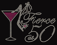 Fierce 50 Heels in glass Fifty Birthday Rhinestone Transfer