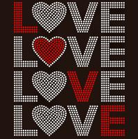 Love 4 Lines Valentine Rhinestone transfer