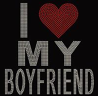 I Love my Boyfriend Valentine Rhinestone transfer