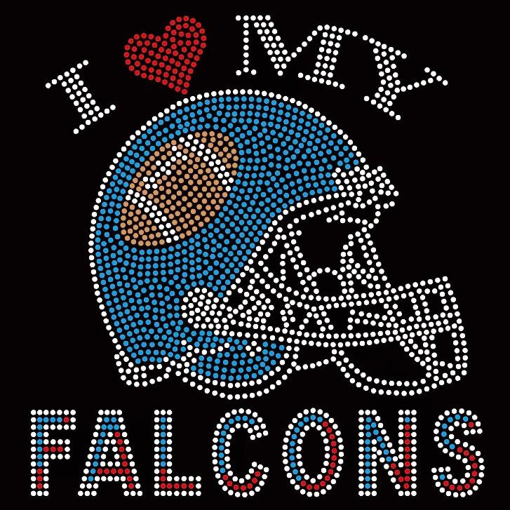 """Iron On Rhinestone Transfer /""""Atlanta Falcons/"""" Hotfix 4/"""" x 4/"""""""