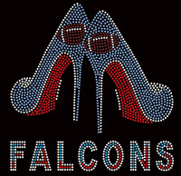 Falcons Text, Football in 2 Heels - Custom Rhinestone transfer