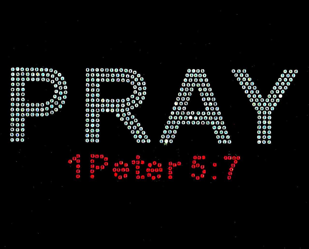 PRAY 1 Peter 5 7 (Red scripture) Custom Order Rhinestone transfer ... ef13b4a3e514