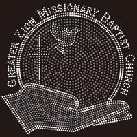 Zion Church globe on hand - Custom Order Rhinestone transfer