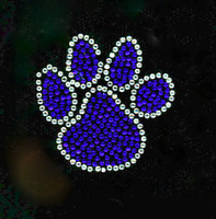 "(4 Qty) Paws 2"" Cobalt Blue Rhinestone Transfer Iron On"