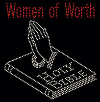 Women of Worth Hands on Bible Religious Rhinestone Transfer