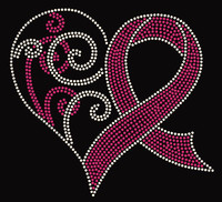 (Fuchsia) Heart ribbon Cancer Awareness Rhinestone Transfer