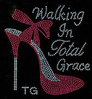 (Fuchsia) Walking in Total Grace TG Heel Stiletto Rhinestone Transfer