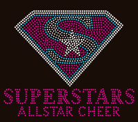"Superstars Allstar Cheer (Diamond shape) 9""x7.3""- Custom Order Rhinestone transfer"