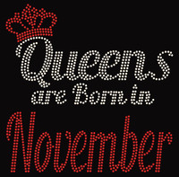 (Text) Queens are born in November (Red) Rhinestone Transfer