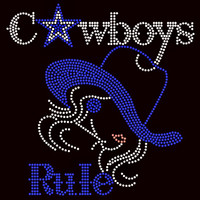 Cowboys Rule Blue Hat Girl Blue Star - Custom Order Rhinestone transfer