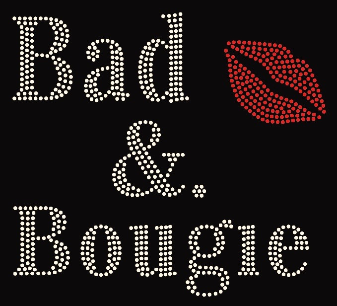 Bad Amp Bougie With Red Lip Rhinestone Transfer Texas