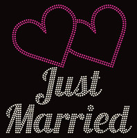 Just Married Rhinestone Transfer Iron on