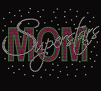 SuperStars Mom Splatter Custom Rhinestone Transfer
