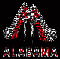 Alabama text with 2 red shoes Heels Rhinestone Transfer