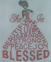 She is Blessed Dress lady (Black hair, Red dress) Rhinestone Transfer
