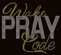 Wake Pray Code Bold (Golden/clear) Rhinestone Transfer