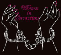 Women in Corrections Hand cuff - Custom Rhinestone transfer