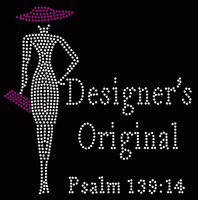 Designer's Original Purple Hat & Purse Lady Psalm 139:14 Rhinestone transfer