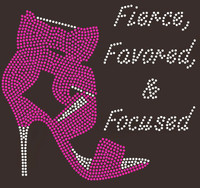 Fierce Favored & Focused Heel (Fuchsia) Rhinestone Transfer
