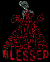 She is Blessed Dress lady (Clear hair, Red dress) Rhinestone Transfer