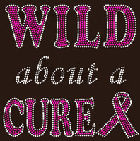 (Fuchsia New) Wild About a Cure Ribbon Breast Cancer Awareness Rhinestone Transfer