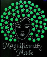 Magnificently Made Afro Girl (Green) Rhinestone Transfer