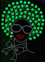 Afro Girl (Green) (13mm hair) Rhinestone Transfer
