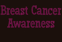 (Fuchsia Text) Breast Cancer Awareness Rhinestone Transfer