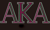 AKA (Text) - Custom order Rhinestone Transfer