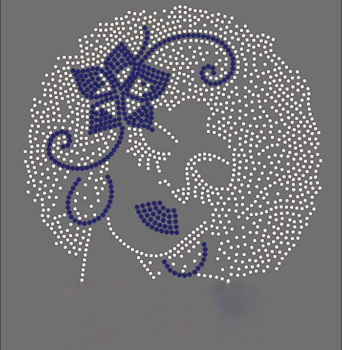 Blue Flower Zeta Lady Custom Order Rhinestone Transfer