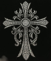 Cross Leaf CLEAR, Black outline Religious Rhinestone transfer
