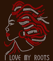 (red clear) I Love My Roots Afro  Girl custom order Rhinestone Transfer