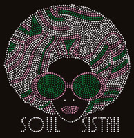Soul Sistah Girl with goggle (Green Pink) Afro Rhinestone Transfer