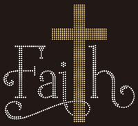 Faith with Golden Cross Rhinestone Transfer