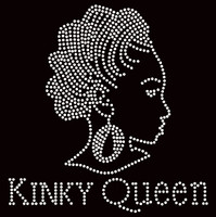 Kinky Queen Afro Girl Rhinestone Transfer