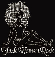 Black Women Rock Afro girl (sitting) - Custom Order Rhinestone Transfer