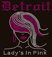 Detroit Lady's in Pink (Straight hair girl) - Custom Order Rhinestone Transfer