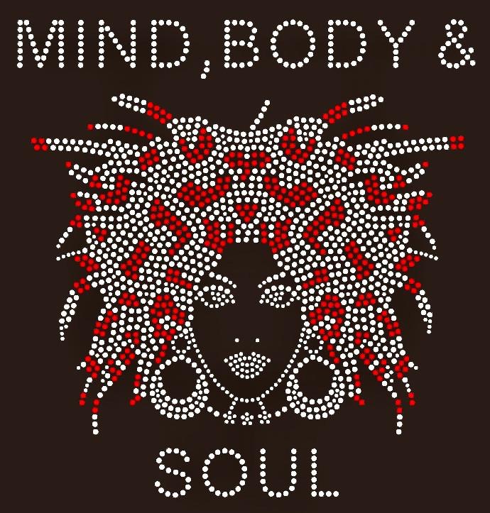 Mind Body & Soul Afro girl Rhinestone Transfer - Texas Rhinestone