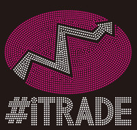 #Itrade text Rhinestone Transfer