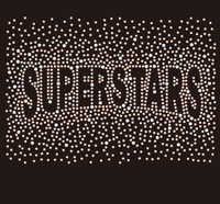 SUPERSTARS (text) Splatter Custom Rhinestone Transfer