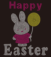 Happy Easter Bunny Rhinestone Transfer Iron on